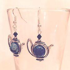 Tea Pot Earrings W/925 Sterling Ear Wires Pretty Blue Agate Swirl 10Mm & Crystal