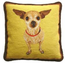 "17"" x 17"" Handmade Wool Needlepoint Chiwawa Chihuahua Dog Pillow with Cording"