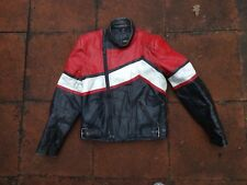 "Classic Sportex Leather Motorcycle Jacket-Red/Black/White-38"" Chest"