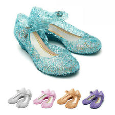 Kids Girls Crystal Jelly Sandals Princess Frozen Elsa Cosplay Party Beach Shoes
