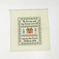 Vintage Cross Stitch Sampler Prayer Completed Religious Embroidery Joshua 24:15