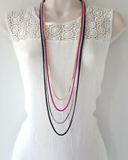 "Beautiful 40"" long gold - silver, black & hot pink layered box chain necklace"