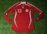 DENMARK # 13 2006/2008 MATCH WORN YES FOOTBALL SHIRT JERSEY HOME ADIDAS ORIGINAL