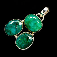 """Green Sillimanite 925 Sterling Silver Pendant 1 1/2"""" Ana Co Jewelry P725636F"""