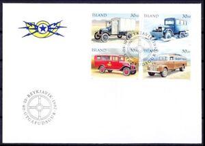 Iceland 1992 4v FDC, Postal cars, Transport