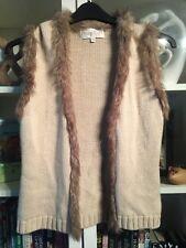 R22 Phase Eight Sz 12 Beige Wool Blend Body Warmer/Gilet Faux Fur Trimmed
