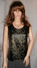 Apricot Black Yellow Faux Leather Cut Out Top Rock Chick Large RRP £22