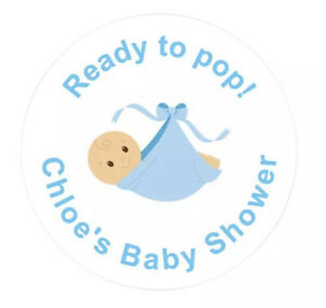 45mm Ready To Pop! Baby Boy Shower stickers. Sets of 24, 48 & 72