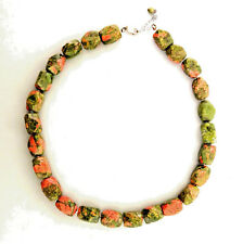 Unakite Necklace Strand Sterling Silver .5x18in
