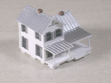 Z Scale 2 Story White Farm House with front porch and silver tin roof