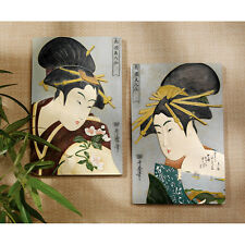 Japanese Geishas Bust Portraits Hand Painted Asian Beauties Wall Sculptures