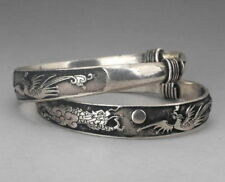 2 Rare Tibet silver carved DRAGON men's bracelet bangle