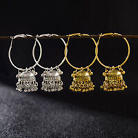 2 Pairs Women Silver Gold Plated Jhumka Indian Unique Ethnic Drop Stud Earrings