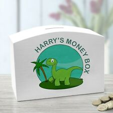 Personalised  Wooden Money Box Dinosaur and child's name printed