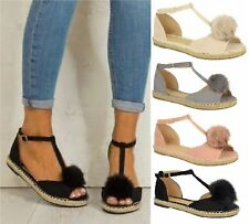 Womens Ladies T-strap Beach Shoes Fluffy Faux Fur Flat Ankle Sandals Shoes Size
