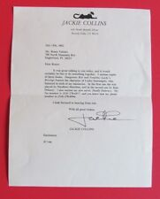Jackie Collins Signed Letter to Renee Valente July 15th, 2002 RARE both Deceased