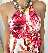 AVA WOMENS TOP STRAP FLORAL PRINT ASYMMETRICAL LINED WORK PARTY SZ 10
