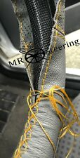 FOR HOLDEN COMMODORE VY VZ GREY TWO TONE LEATHER STEERING WHEEL COVER YELLOW STT
