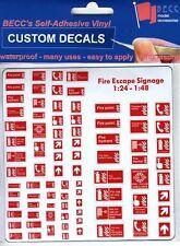 G 1:24 Scale Modern Garage Building Fire Warning Notice Signs Railway Diorama
