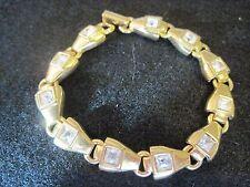 Vintage Swan Signed Swarovski Gold Tone Bracelet With Crystals 408