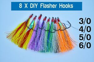 8 x DIY Flasher Hooks 3/0 4/0 5/0 6/0 Flathead Whiting Rigs Snapper Snatcher