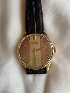 1950s Breitling Geneve 17J Dress Watch Duo Tone Dial Gold Front Stainless Back