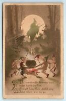 Vintage Postcard GIBSON Halloween Brownies Witch 1911 Nude Goblins Pixies Sepia