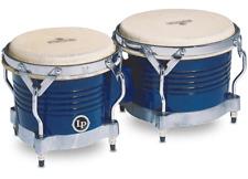 Latin Percussion Matador Bongos Blue Wood Chrm M201-blwc
