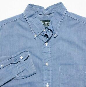 Gitman Bros Vintage Men's XL Blue Chambray USA Long Sleeve Button-Down Shirt