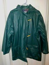 Vintage JG Hook  Shiny Rain Trench Coat Jacket MEN'S Size L Plaid Lining