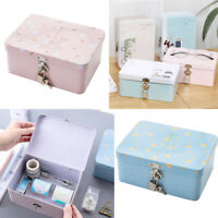 Mini tin trinket jewelry coin box tinplate storage case small rectangular  @M
