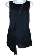 Deletta Anthropologie Tunic Top M dark blue jersey knit lace lining NEW