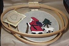 Vintage Lot of 5 Wooden Embroidery Hoops Large Oval Round Cross Stitch Kits