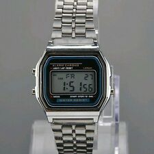 Hot Vintage  Men Stainless Steel Square Alarm Stopwatch Wrist Watch
