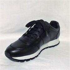 NEW Prada Women's Calzature Donna Vitello Plume Black Sneakers, Sz 9.5