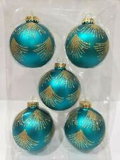 """Peacock Teal Gold Glass Beaded 3"""" Christmas Tree Ornaments Set of 5"""