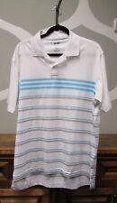 Adidas Clima Cool Men's White Blue Striped Golf Polo Shirt - Medium