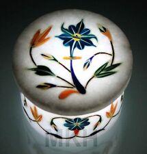 Marble Jewelry Box Inlay Pietra dura Stones Handicrafts Trinket Boxes Vintage