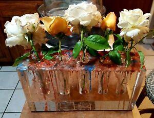 "Williams Sonoma ~ Crystal 5 Bud Vase w/Wax Drip on Top ~ 11"" x 6"" x 3"""