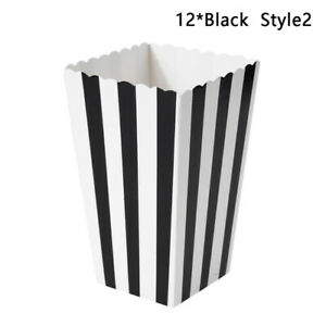 12pcs Colorful Dot Wave Striped Paper Popcorn Boxes Candy Wedding Birthday Part: