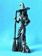 Witch with Cat and Broom/Wicca/Pagan/Bronze/Pagan/Decorative Figure/01630