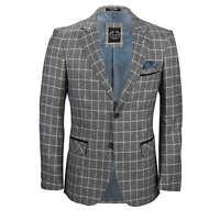 Mens Tweed Blazer White on Grey Windowpane Check Retro Smart Tailored Fit Jacket