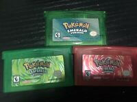 Pokemon Emerald Fire Red Leaf Green  Gameboy GBA Lot of 3 Nintendo DS SP games