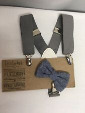 Baby/Toddler Boy's Gray/Blue Bow Tie and Suspender Set New