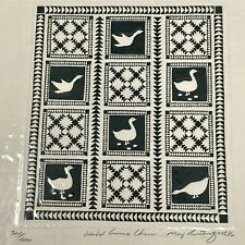 Vtg 1986 WILD GOOSE CHASE MARY RUTHERFORD Serigraph QUILT DESIGN Wall Art SIGNED