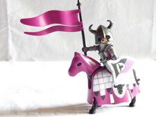 PLAYMOBIL personnage chateau soldat chevalier du taureau en arme et sa monture
