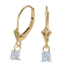 14k Yellow Gold 5mm Round Genuine Aquamarine Lever-back Earrings