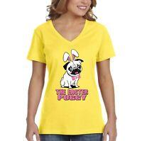 Women's Pug Dog Ears Easter Bunny Holiday Rabbit Spring Gift V-Neck T-Shirt