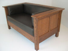 Mission Arts & Crafts Stickley style Prairie Panel Leather Settle Loveseat