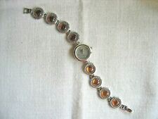 New Sterling Silver and Genuine Amber and Mother of Pearl Bracelet Watch